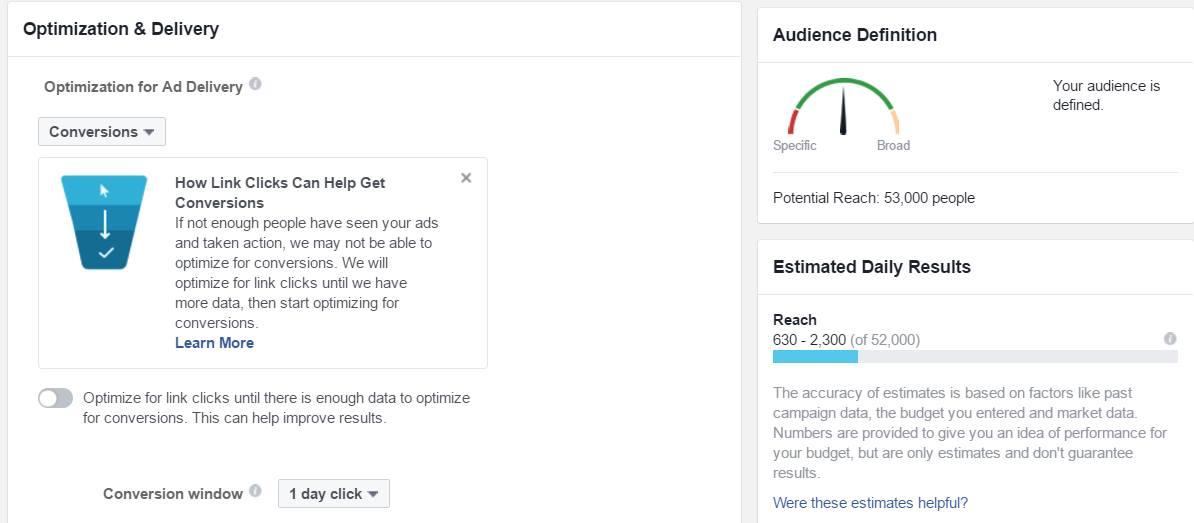 אופטימיזציה לקמפיינים בפייסבוק