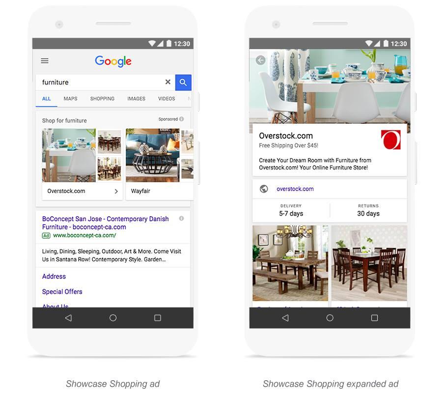 google shopping showcase