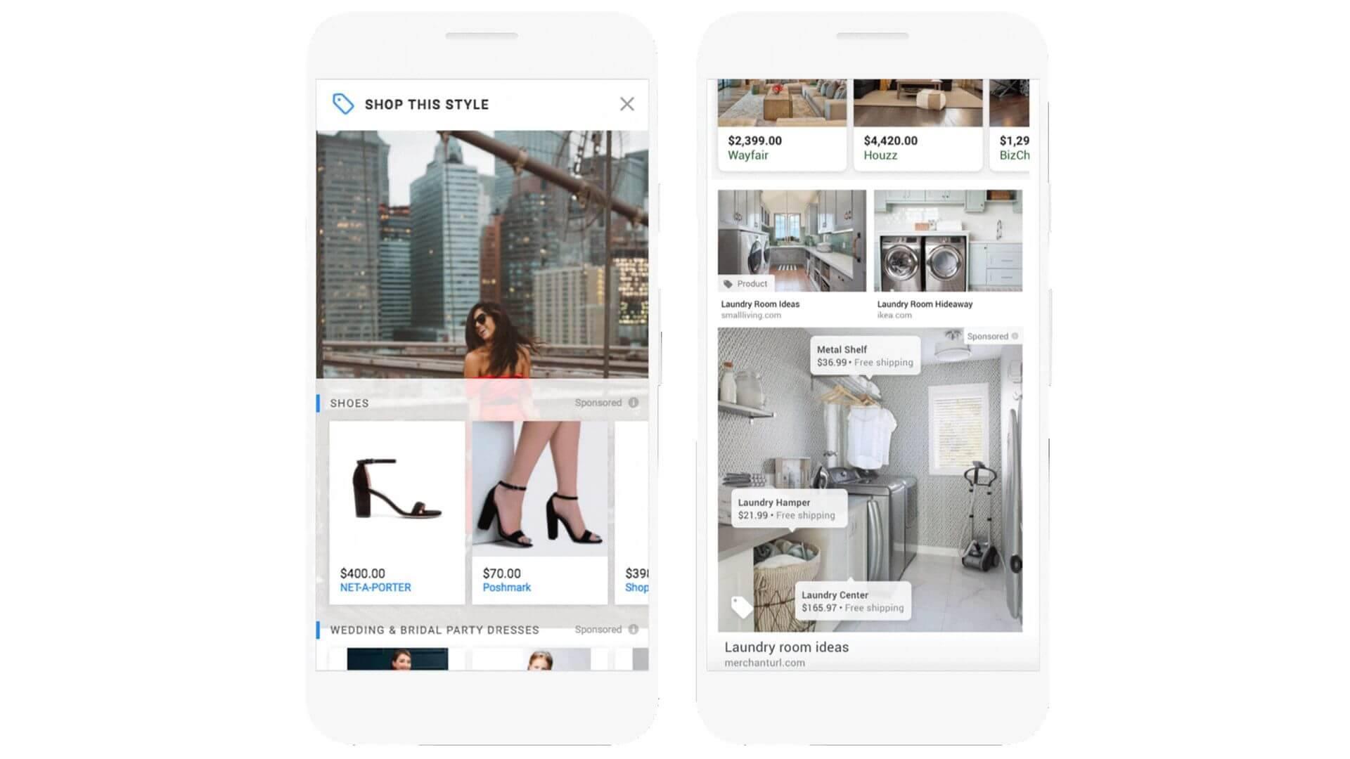 מודעות תמונה מסוג Shoppable Image יכולות להופיע באתרים של צד שלישי (משמאל) ובחיפוש תמונות של Google (מימין).